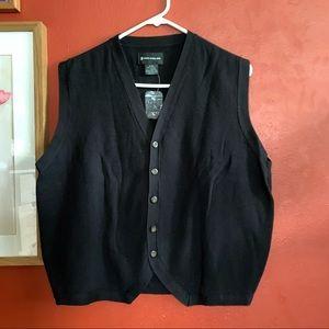 Men's button down black vest Medium